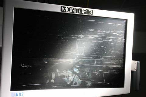 Damaged Monitor Before SteriScreens